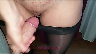 Cumming in pantyhose of my stepsister close to window