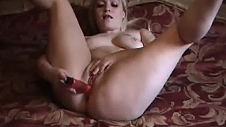 Biker wife mashing dildo into wet pussy in homemade blonde porn