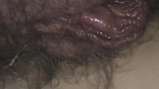 Hairy meaty pussy lips of my 37yo belgian milf wife