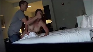 Amateur MILF fucked by two horny studs