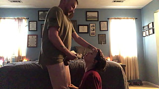 Hot homemade wife sucking husbands 8 inch cock For facial