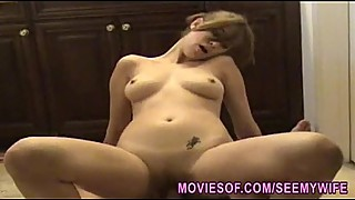 Horny beautiful wife sucks and rides a cock in the bathroom