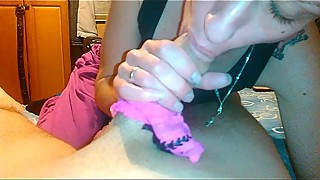Pantie wrapped cock blowjob