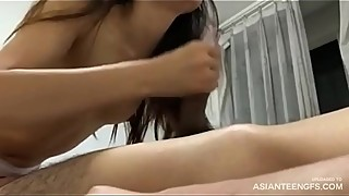 Real Asian housewife stroking &amp_ sucking cock in front of camera