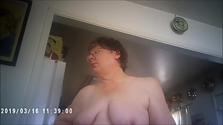 Topless BBW wife wanders about on her way to fuck husband