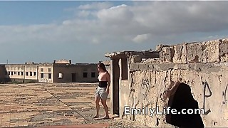 outdoor fucking and facial on the roof with real amateur MILF EmilyLife.com