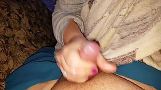 Wife jerks off until cum
