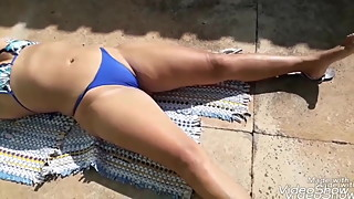 Hot wife sunbathing in the backyard
