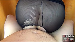 Hot creampie in pussy of wife'_s sexy girlfriend ... torn tights spoiled forever!  XSanyAny