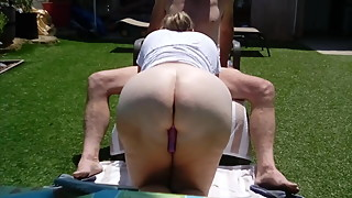 Big White Ass Backyard Blowjob!