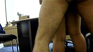Me-Fucking my wife on table in my home office &amp_ her pussy drips creampie