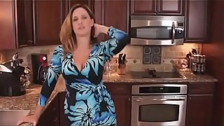 My aunt seduces my in the kitchen and she show me her boobs for excites me