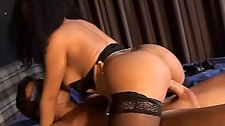 Sexy curly woman in black stockings fucked doggystyle