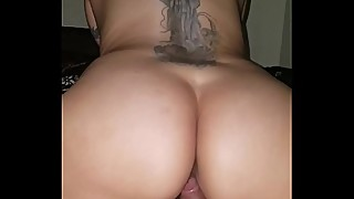 Quickie with tatted up latina riding dick