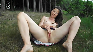 cute french slutty wife Isabelle masturbating outside