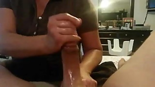 Homemade handjob by wife