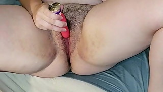 Hairy Chubby Wife Masturbates Again