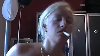 Smoking wife with tattoos jerks hubbys cock