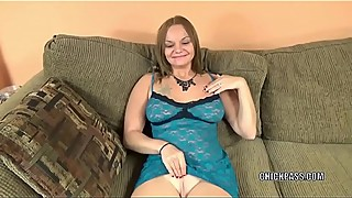 Busty wife Tonya Sinn in lingerie and giving a blowjob