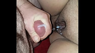 Pussy fucking my sleeping milf wife and cumshot (real)
