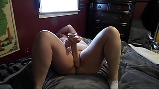 BBW Wife lets go and takes ALL of her BIG dildo