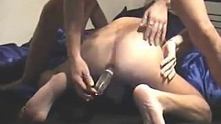 Wife toys lucky Husband's Ass