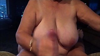 Big Granny Handjob Cumshot and Drinking Cum