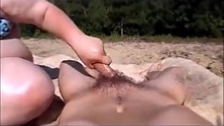 Sexy Wife In Bikini Give Husband Babyoil Handjob In Public &amp_ Cumshot