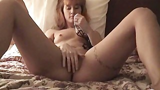 Tiny tit wife fingers pierced pussy in motel homemade porn