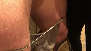hubby gets balls spanked wearing her panties