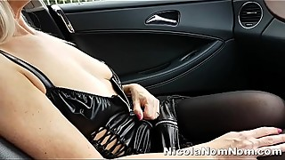 Toyboy Filming My Mature Tits &amp_ Pussy Getting Aired In Roadside Layby